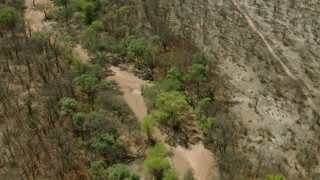 CAP_026_055 - HD stock footage aerial video of tilting to green trees lining a shallow river in the open savanna, Zimbabwe