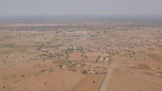 CAP_026_108 - HD stock footage aerial video of a wide view of an African village in Zimbabwe