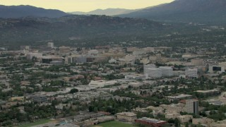 CBAX01_098 - HD stock footage aerial video of approaching office buildings in downtown, Pasadena, California
