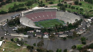 CBAX01_105 - HD stock footage aerial video of approaching Rose Bowl Stadium, Pasadena, California