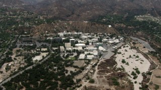 CBAX01_109 - HD stock footage aerial video of JPL, the Jet Propulsion Laboratory, Pasadena, California