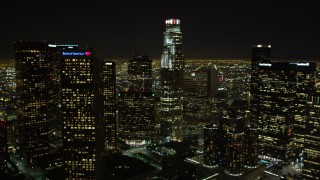 DCA01_013 - 5K stock footage aerial video tilt up revealing Downtown Los Angeles skyscrapers, California