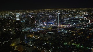 DCA01_019 - 5K stock footage aerial video Downtown Los Angeles skyscrapers and city lights at night, California