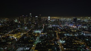 DCA01_020 - 5K stock footage aerial video Downtown Los Angeles skyline at night, California