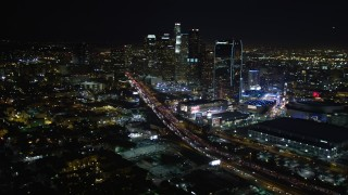 DCA01_022 - 5K stock footage aerial video Downtown Los Angeles skyline and city lights at night, California