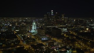 DCA01_029 - 5K stock footage aerial video Downtown Los Angeles skyline and City Hall at night, California