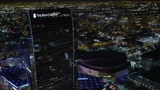 DCA01_033 - 5K stock footage aerial video orbiting The Ritz-Carlton, Downtown Los Angeles, California