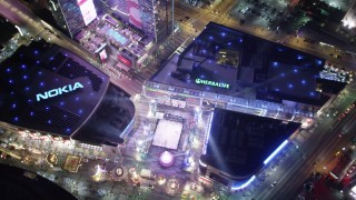 DCA01_034 - 5K stock footage aerial video a bird's eye view orbiting Nokia Theater, Los Angeles, California