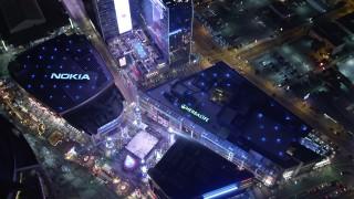 DCA01_034E - 5K stock footage aerial video a bird's eye view orbiting Nokia Theater, Los Angeles, California
