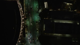 DCA01_049 - 5K stock footage aerial video bird's eye view of South Grand Avenue at night, Downtown Los Angeles, California