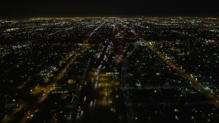 DCA01_065 - 5K stock footage aerial video following Highway 110 at night, Los Angeles, California