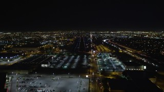 DCA01_071 - 5K stock footage aerial video approaching runway at Hawthorne Municipal Airport, California