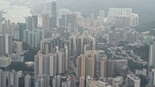 DCA02_021 - 4K stock footage aerial video flyby Kwai Chung apartment buildings, Hong Kong, China