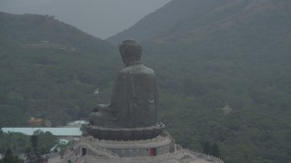 DCA02_041 - 4K stock footage aerial video of an orbit of the Tian Tan Buddha statue on Lantau Island, Hong Kong, China