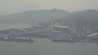 DCA02_054 - 4K stock footage aerial video flyby Castle Peak Power Station, New Territories, Hong Kong, China
