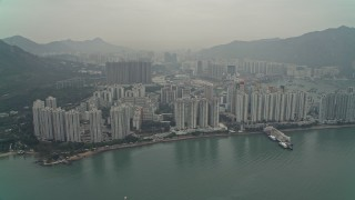 DCA02_058 - 4K stock footage aerial video of waterfront apartments high-rises New Territories, Hong Kong, China