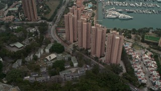 DCA02_062 - 4K stock footage aerial video flyby Hong Kong Gold Coast waterfront apartment high-rises in New Territories, Hong Kong, China