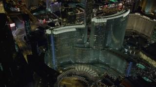 DCA03_028 - 4K stock footage aerial video of orbiting Aria Resort and Casino, Las Vegas, Nevada Night