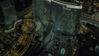 DCA03_029 - 4K stock footage aerial video of orbiting Aria Resort and Casino, Las Vegas, Nevada Night