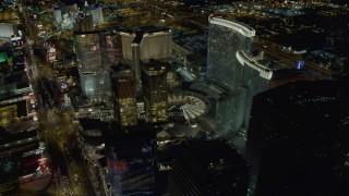 DCA03_033 - 4K stock footage aerial video of orbiting Aria Resort, Mandarin Oriental, Veer Towers, Las Vegas, Nevada Night