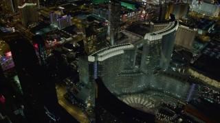 DCA03_034 - 4K stock footage aerial video of orbiting Aria Resort and Casino, Las Vegas, Nevada Night
