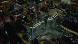 DCA03_039 - 4K stock footage aerial video of orbiting Aria Resort and Casino, Veer Towers, Las Vegas, Nevada Night