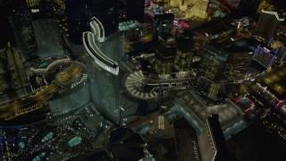 DCA03_041 - 4K stock footage aerial video of orbiting Aria Resort, Veer Towers, Mandarin Oriental, Las Vegas, Nevada Night