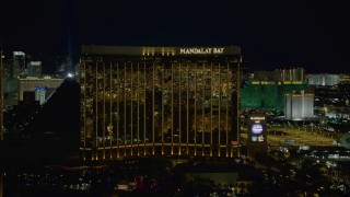 DCA03_053 - 4K stock footage aerial video of Mandalay Bay, Las Vegas, Nevada Night