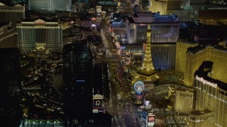 DCA03_060 - 4K stock footage aerial video of flying over Las Vegas Boulevard, Las Vegas, Nevada Night