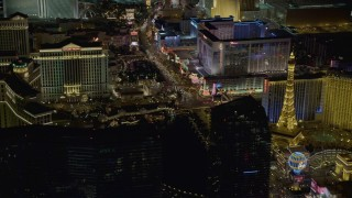 DCA03_061 - 4K stock footage aerial video of Las Vegas Boulevard with hotels, Las Vegas, Nevada Night