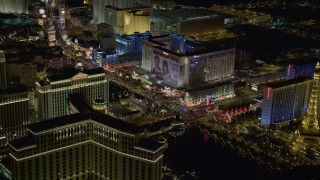DCA03_062 - 4K stock footage aerial video of Las Vegas Boulevard with hotels, Las Vegas, Nevada Night