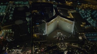 DCA03_078 - 4K stock footage aerial video of flying by Mirage Hotel and Casino, Las Vegas, Nevada Night