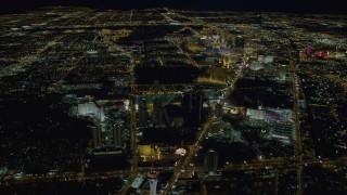 DCA03_085 - 4K stock footage aerial video of Las Vegas city sprawl, Nevada Night
