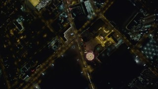 DCA03_087 - 4K stock footage aerial video of bird's eye view of Las Vegas Boulevard, Sahara Hotel and Casino, Las Vegas, Nevada Night