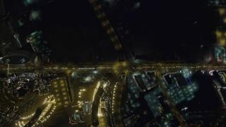 DCA03_091 - 4K stock footage aerial video of bird's eye view of Las Vegas Boulevard, Nevada Night