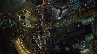 DCA03_093 - 4K stock footage aerial video of bird's eye view of Las Vegas Boulevard, Nevada Night
