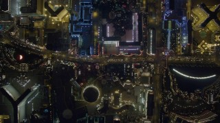 DCA03_095 - 4K stock footage aerial video of a bird's eye view following Las Vegas Boulevard, Nevada Night