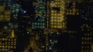 DCA03_101 - 4K stock footage aerial video of a bird's eye view of Las Vegas Boulevard, Nevada Night