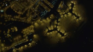 DCA03_104 - 4K stock footage aerial video of bird's eye view of McCarran International Airport, Las Vegas, Nevada Night