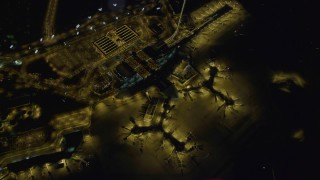 DCA03_113 - 4K stock footage aerial video of flying away from McCarran International Airport, Las Vegas, Nevada Night