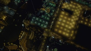 DCA03_114 - 4K stock footage aerial video of a bird's eye view following Las Vegas Boulevard, Nevada Night
