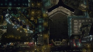 DCA03_116 - 4K stock footage aerial video of a bird's eye view of hotels on Las Vegas Strip, Nevada Night