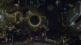 DCA03_119 - 4K stock footage aerial video of bird's eye view of Caesar's Palace, The Mirage, Las Vegas, Nevada Night