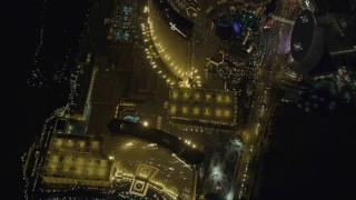 DCA03_121 - 4K stock footage aerial video of Encore, Wynn, The Palazzo, Las Vegas, Nevada Night