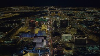 DCA03_125 - 4K stock footage aerial video of flying above Las Vegas Strip with hotels, Nevada Night