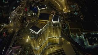 DCA03_126 - 4K stock footage aerial video orbit The Palazzo, Las Vegas, Nevada Night