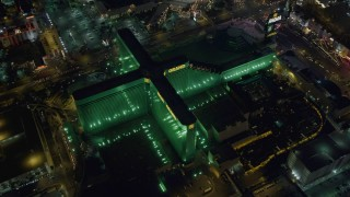 DCA03_135 - 4K stock footage aerial video of MGM Grand, Las Vegas, Nevada Night