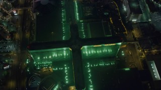 DCA03_136 - 4K stock footage aerial video of orbiting MGM Grand, Las Vegas, Nevada Night