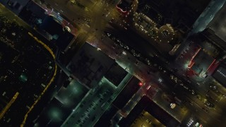 DCA03_139 - 4K stock footage aerial video of a bird's eye view of Las Vegas Boulevard with traffic, Nevada Night