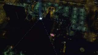 DCA03_141 - 4K stock footage aerial video of orbiting Luxor Hotel and Casino, Las Vegas, Nevada Night